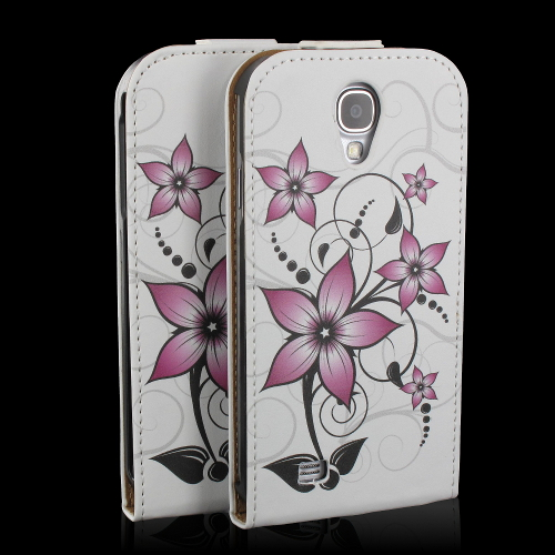 handy tasche flip case h lle samsung galaxy s4 gt i9505 handytasche blume rosa ebay. Black Bedroom Furniture Sets. Home Design Ideas