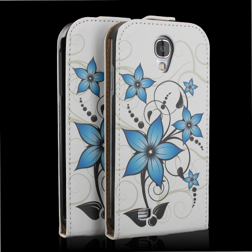 handy tasche flip case h lle samsung galaxy s4 gt i9505 handytasche blume t rkis ebay. Black Bedroom Furniture Sets. Home Design Ideas