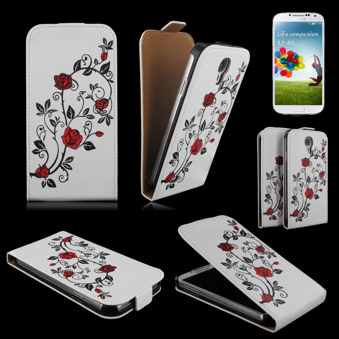 handy tasche flip case h lle samsung galaxy s4 gt i9505 handytasche rose rot. Black Bedroom Furniture Sets. Home Design Ideas