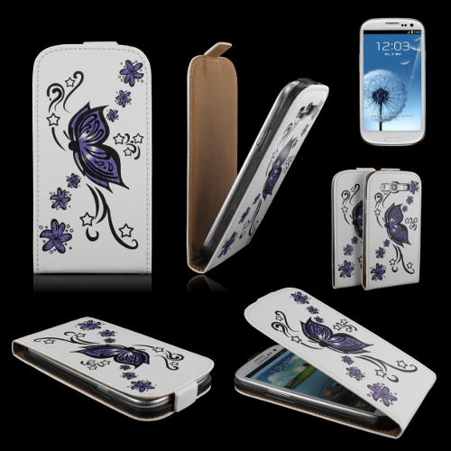 handy tasche flip case samsung i9300 galaxy s3 handytasche schmetterling lila ebay. Black Bedroom Furniture Sets. Home Design Ideas